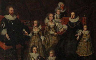 Sir Thomas Lucy and family - after Cornelius Johnson - detail