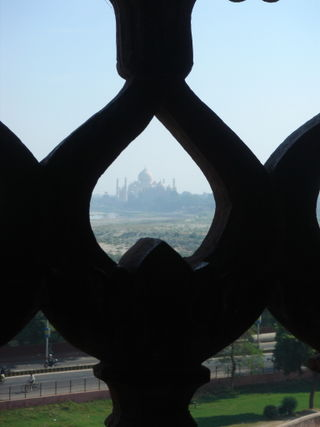 Taj Mahal thru sandstone screen
