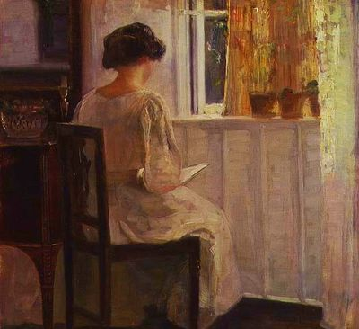 Carl Vilhelm Holsoe ~ Woman Reading in a Sunlit Room