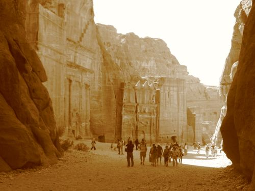 Petra - antique view of the Siq