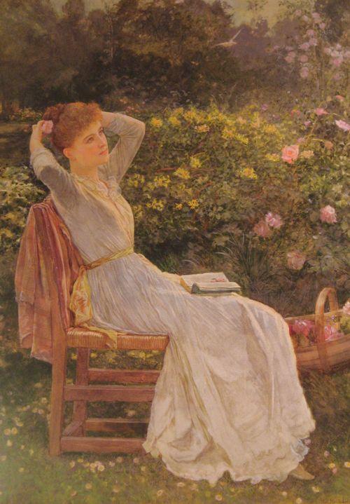 Edward Killingworth Johnson - Summertime, Portait of the artist's wife Hannah