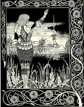 Aubrey Beardsley - Bedivere casts Excalibur into the water 1894