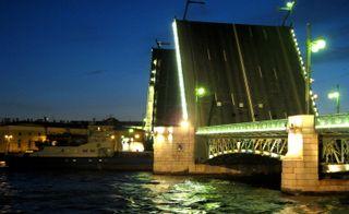 Ship passing under a St Petersburg bridge
