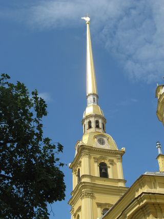 St Petersburg, golden spire of Cathedral of Peter and Paul
