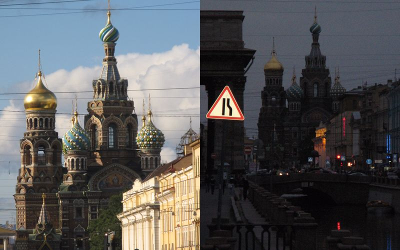 Church of the Saviour on the Blood, day and night