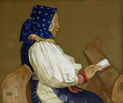 Slovak Woman at Prayer, Marianne Stokes