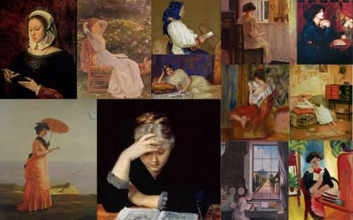 Women reading collage