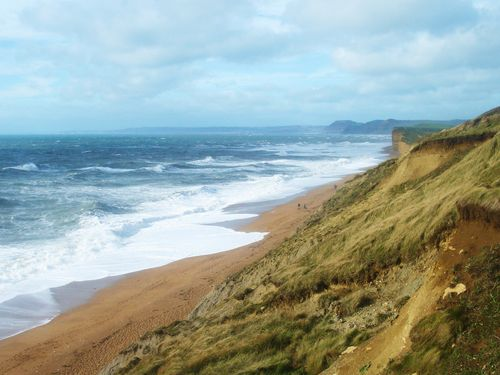 Cliffs at Burton Bradstock, view to Golden Cap