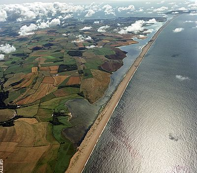 Chesil Beach, dividing Lyme Bay from the Fleet